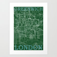 Greenwich London (green) Art Print