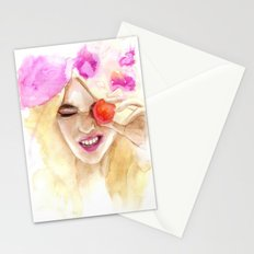 Watercolor girl with macaroon Stationery Cards