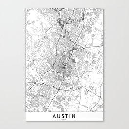 Austin White Map Canvas Print