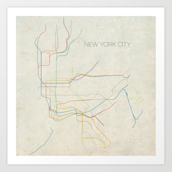 City Subway Map Art.Minimal New York City Subway Map Art Print By Chrisnapolitano