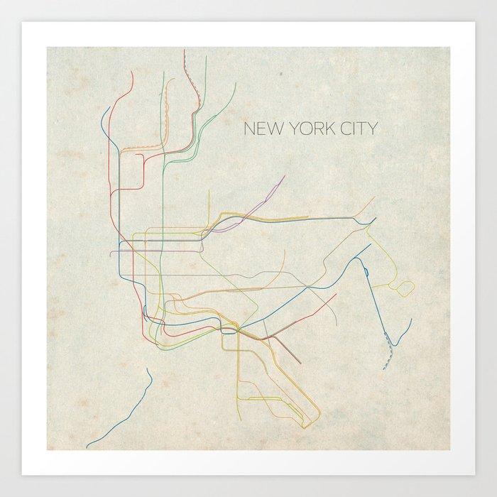 Minimal New York City Subway Map Art Print By Chrisnapolitano Society6