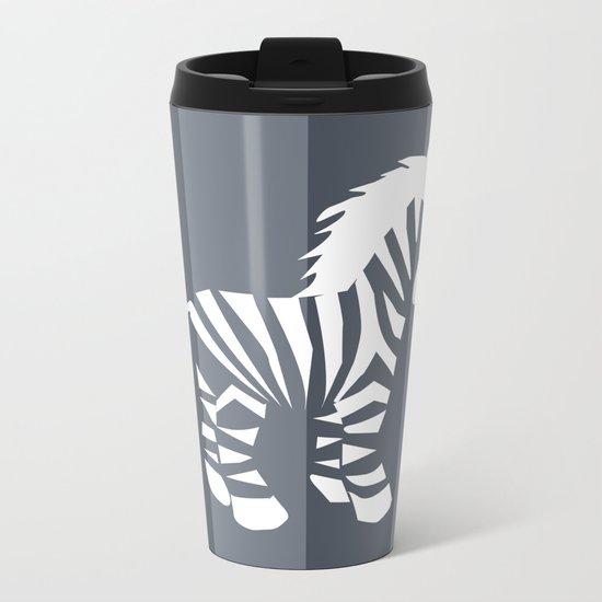 Zebra monochrome Metal Travel Mug