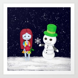Snowman Jack and Sally with Poinsettia Art Print