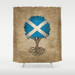 Vintage Tree of Life with Flag of Scotland Shower Curtain