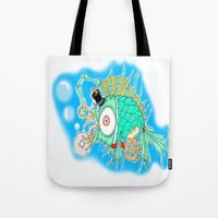 steam punk Tote Bags featuring Whimsical Steam Punk Fish by J&C Creations