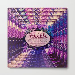 FAITH Colorful Purple Christian Luke Bible Verse Inspiration Believe Floral Modern Typography Art Metal Print