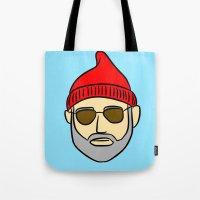 steve zissou Tote Bags featuring Steve Zissou by CozyReverie
