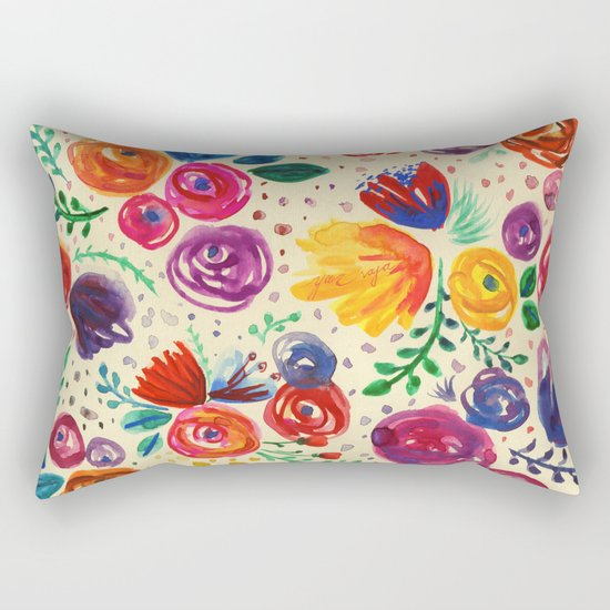 Summer Fruits Floral Rectangular Pillow