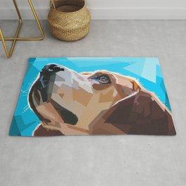 Beagle Dog Illustration Rug