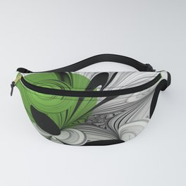 Abstract Black and White with Green Fanny Pack