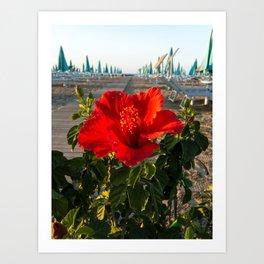 Red Beach Flower Art Print