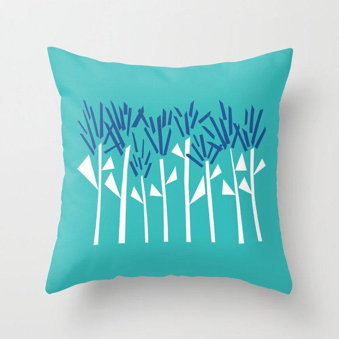 Tropical Blue Plants by Emma Freeman Designs Throw Pillow