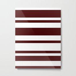 Mixed Horizontal Stripes - White and Bulgarian Rose Red Metal Print
