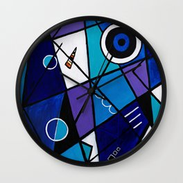 Blue Geometric Wall Clock