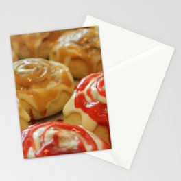 Homemade baking. Buns with berry jam  and cream. Stationery Cards