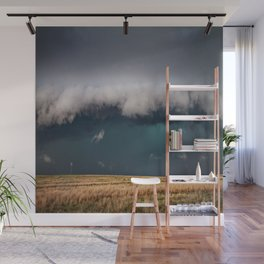 Small - Large Storm Towering Over Windmill in Texas Wall Mural