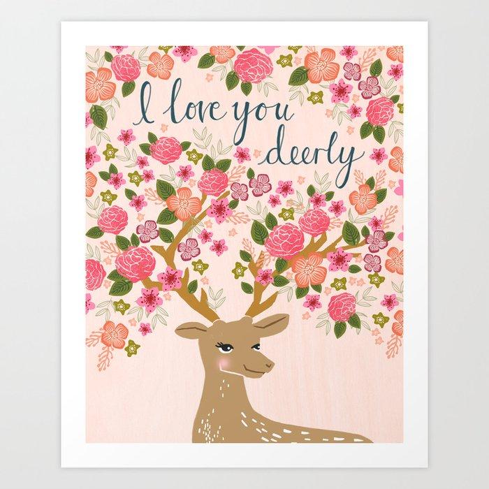 Love Deer Valentines day floral flower antlers Andrea Lauren  Art Print