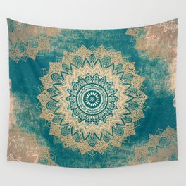 GOLD BOHOCHIC MANDALA IN GREENS Wall Tapestry