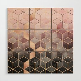 Pink And Grey Gradient Cubes Wood Wall Art
