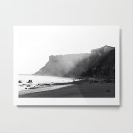 Black & Whites - Misty Cliffs Metal Print