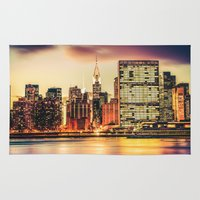 new york city Area & Throw Rugs featuring New York City Skyline by Vivienne Gucwa