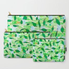 Modern Fresh Leaves Pattern in High Format Carry-All Pouch