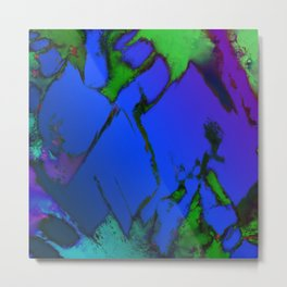 Colliding panels blue Metal Print