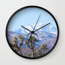 Joshua Trees and Snow Capped Mountains Wall Clock