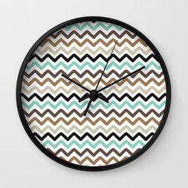 Aqua, Brown, and Black Chevron Stripes Wall Clock