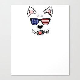 Cute Westie design with American Flag Sunglasses Gift Idea Canvas Print