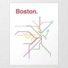 Boston Transit Map Art Print