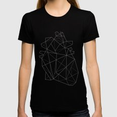 Origami Heart MEDIUM Womens Fitted Tee Black