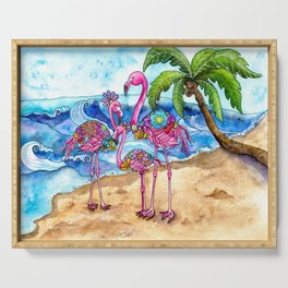 The Flamingo Family's Day at the Beach Serving Tray