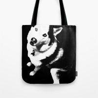 husky Tote Bags featuring Husky Husky by ARTNOIS Magazine