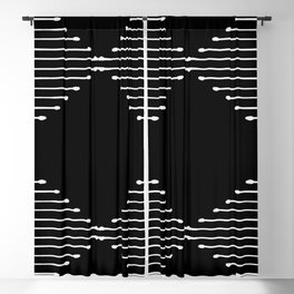 Geo / Black Blackout Curtain