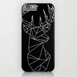 Geometric Stag (White on Black) iPhone Case