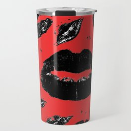 Kisses All Over (Black & Red) Travel Mug