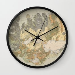 Vintage Geological Map of Iceland (1901) Wall Clock