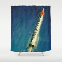 rocket Shower Curtains featuring Rocket by Kevin Garrison