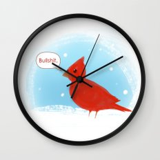 Winter Cardinal Wall Clock