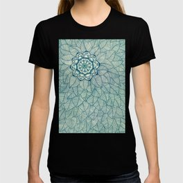 Emerald Green, Navy & Cream Floral & Leaf doodle T-shirt