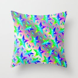 laughing, happy, stars, rainbow colors, pastel, friendly, pattern nursery textile Throw Pillow