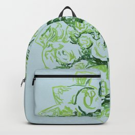 Sky Blue Green Roses Bouquet Backpack