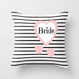 Bride Pink Hearts Black Stripes Wedding Love Throw Pillow