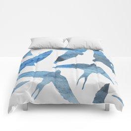 Watercolor birds - sapphire ink Comforters