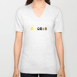 Pacman with Pulp Fiction Ghosts Unisex V-Neck