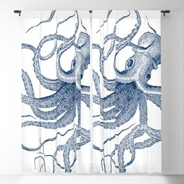 Blue nautical vintage octopus illustration Blackout Curtain