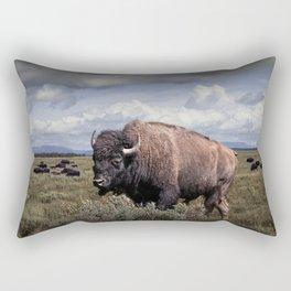 American Buffalo or Bison in the Grand Teton National Park Rectangular Pillow
