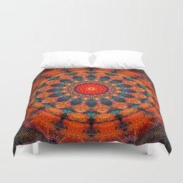 Tangerine Orange Mandala Design Duvet Cover
