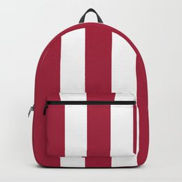 Deep carmine red - solid color - white vertical lines pattern Backpack